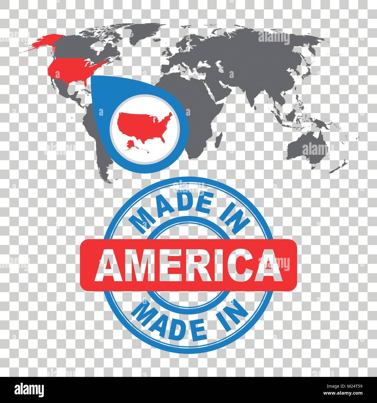 Made in America, USA stamp  World map with red country