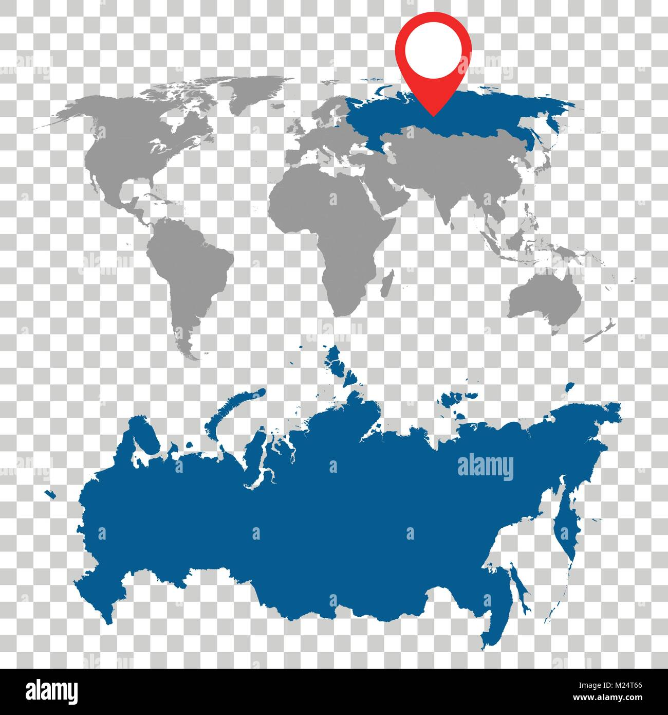 Detailed map of Russia and World map navigation set. Flat vector illustration. - Stock Vector