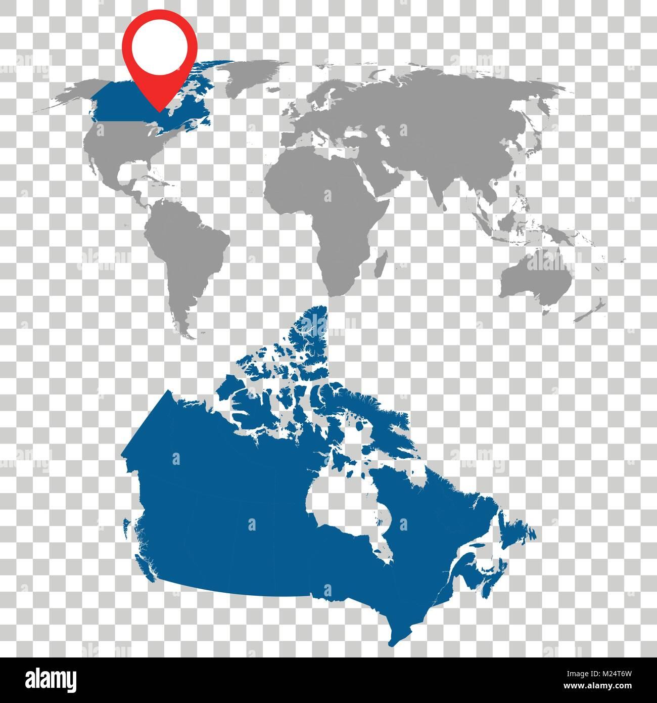 Detailed Map Of Canada.Detailed Map Of Canada And World Map Navigation Set Flat Vector
