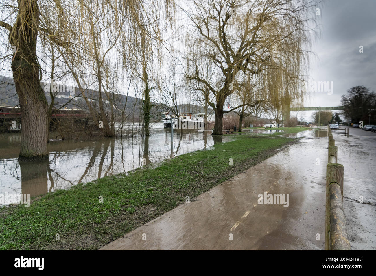 Vernon, France - 4th February 2018 : River Seine flooding roads in Vernon, France, 2018 - Stock Image