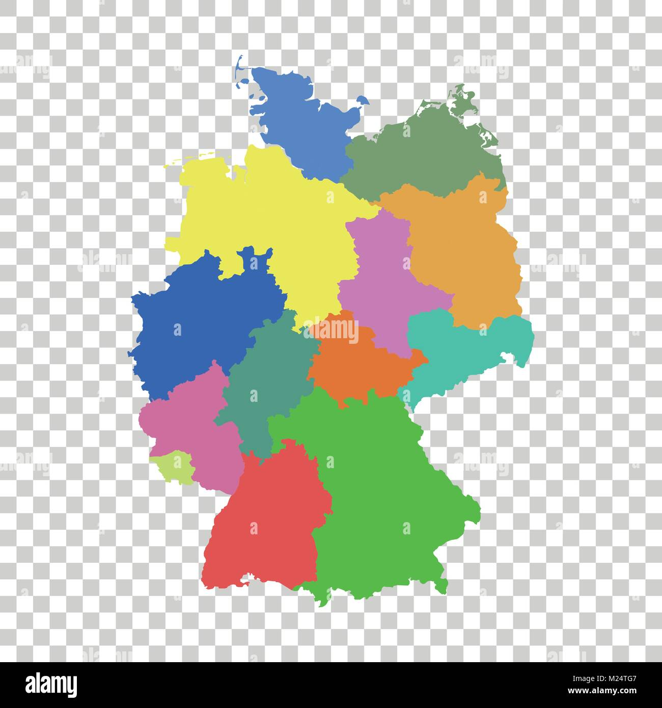 Germany map with federal states Flat vector Stock Vector Art