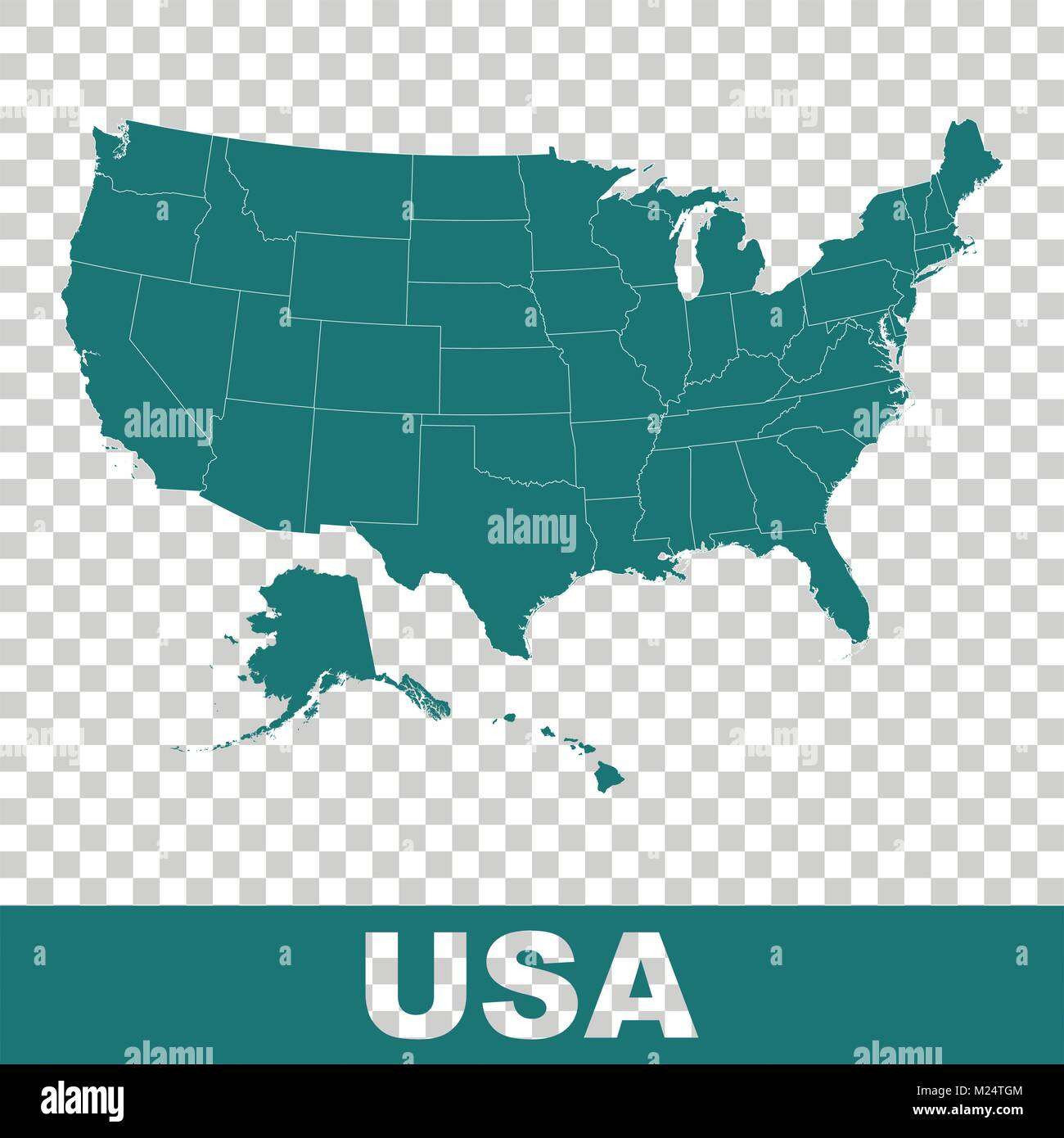 high detailed vector map united states usa vector flat
