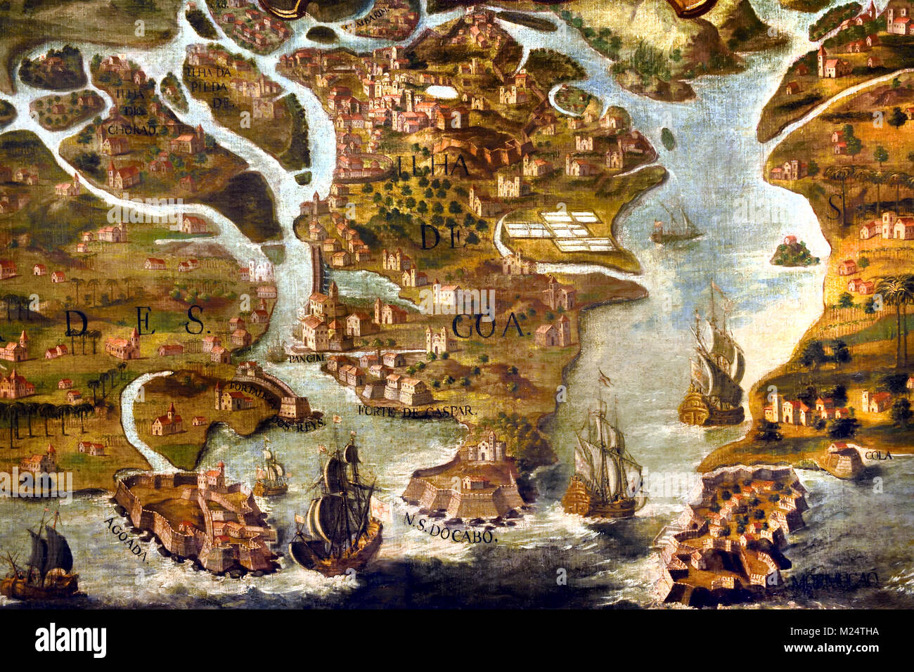 Map of Goa India 17th-century Portugal, Portuguese, - Stock Image