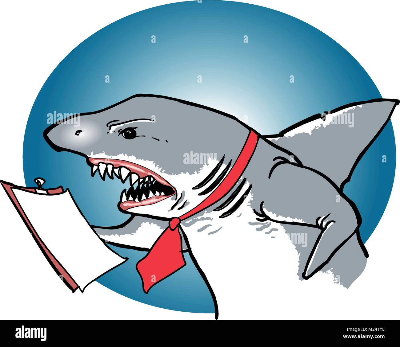 the manager shark so angry funny business vignette cartoon style