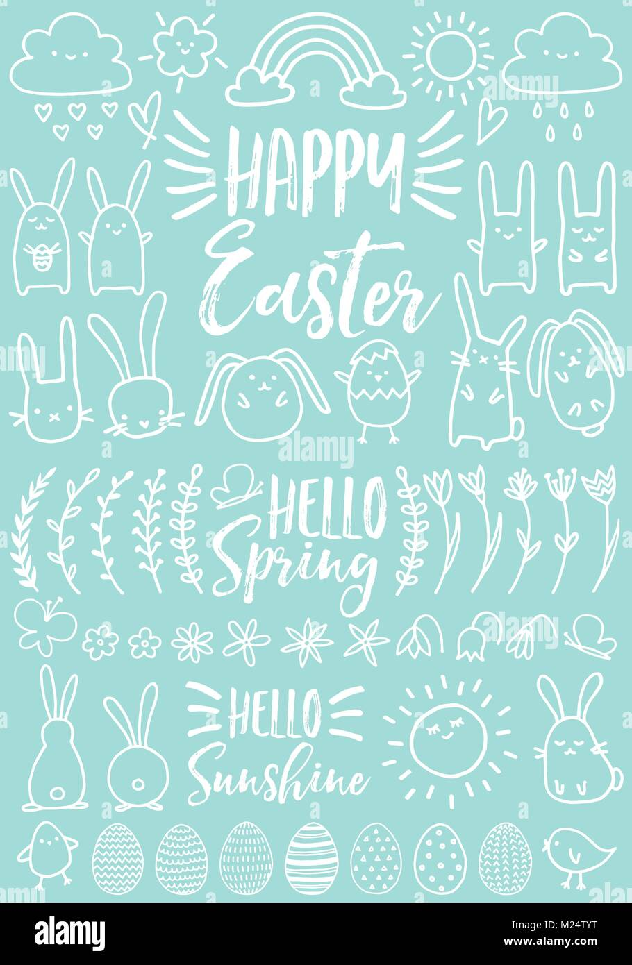Cute white Easter doodles, bunnies, eggs and hand drawn flowers, set of vector design elements - Stock Image