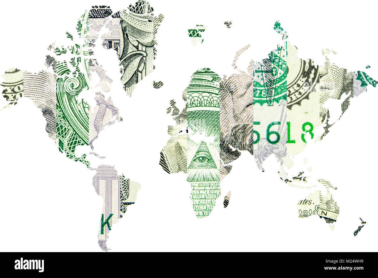 worldwide usage of american dollar - Stock Image