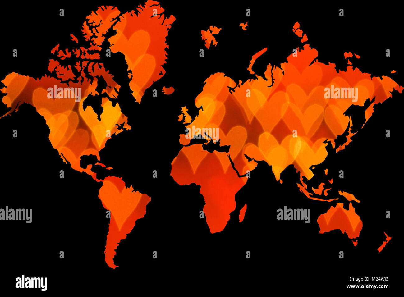 Red heart signs forming world map on black background stock photo red heart signs forming world map on black background gumiabroncs Images
