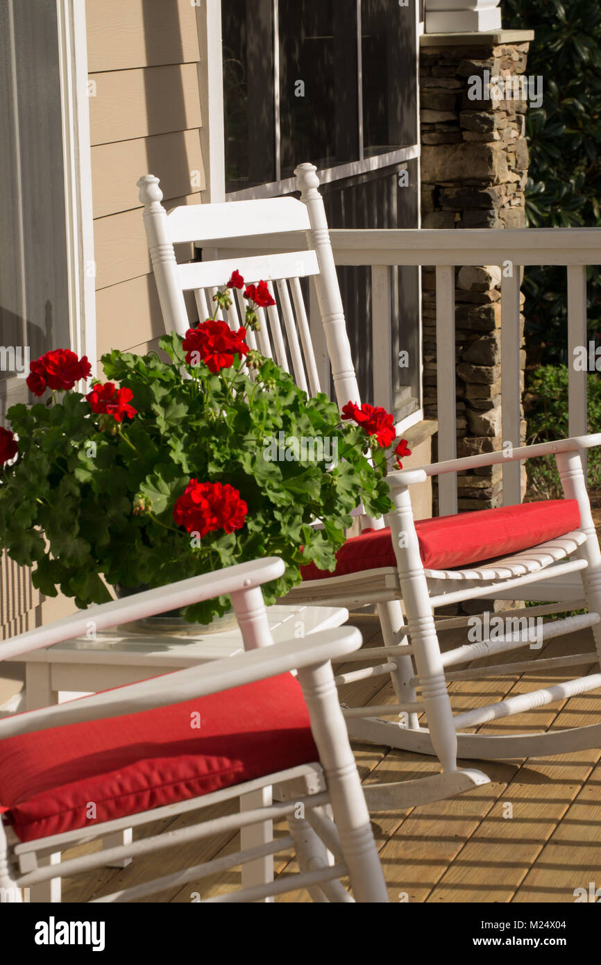 Southern Hospitality - Sit on the Front Porch, Rocking Chair, Summer Living Stock Photo