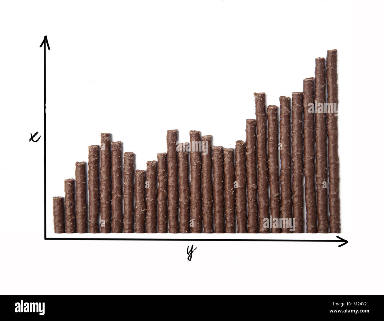 Chocolate Flavoured Stick Candy arranged as graph with axis - Stock Image