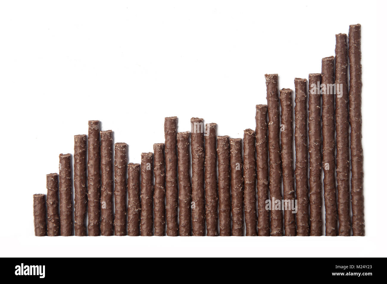 Chocolate Flavoured Stick Candy arranged as graph - Stock Image