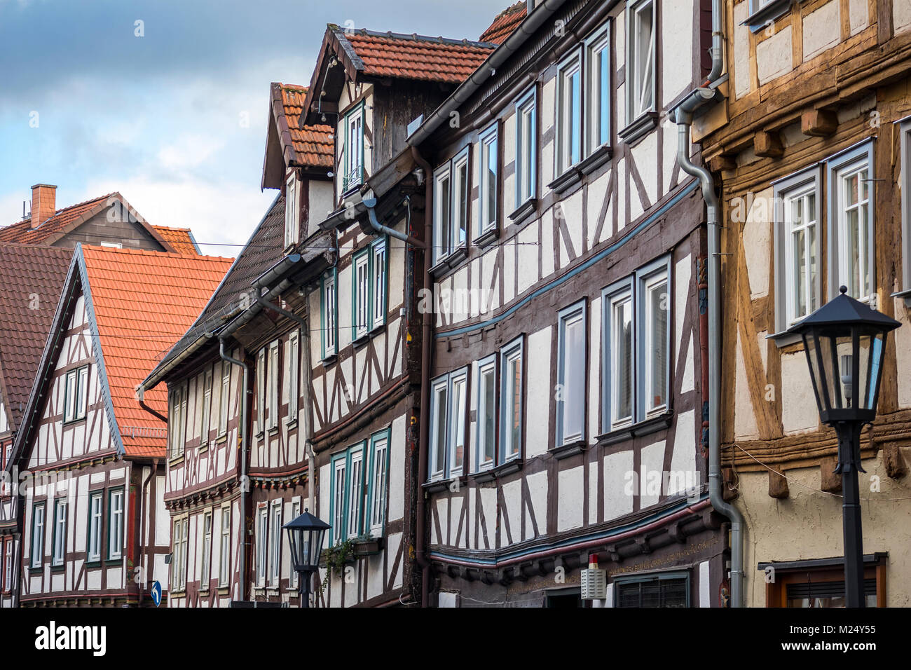 Alsfeld, Germany, half-timbered houses in old town area, street Roßmark - Stock Image