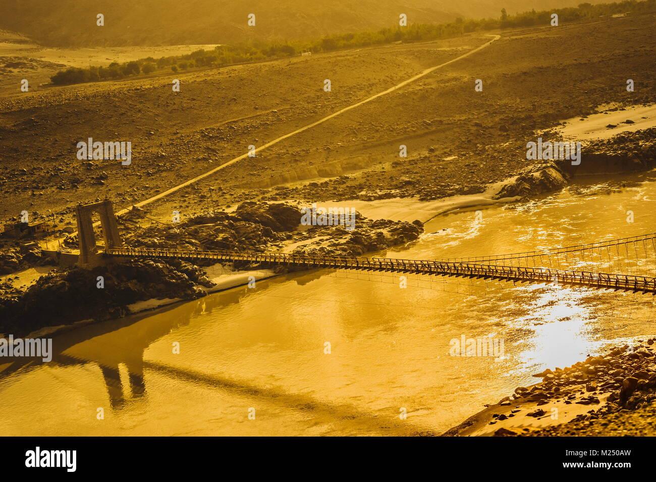 Skardu landform shows desert, river and mountains. Gilgit-Baltistan, Pakistan. - Stock Image