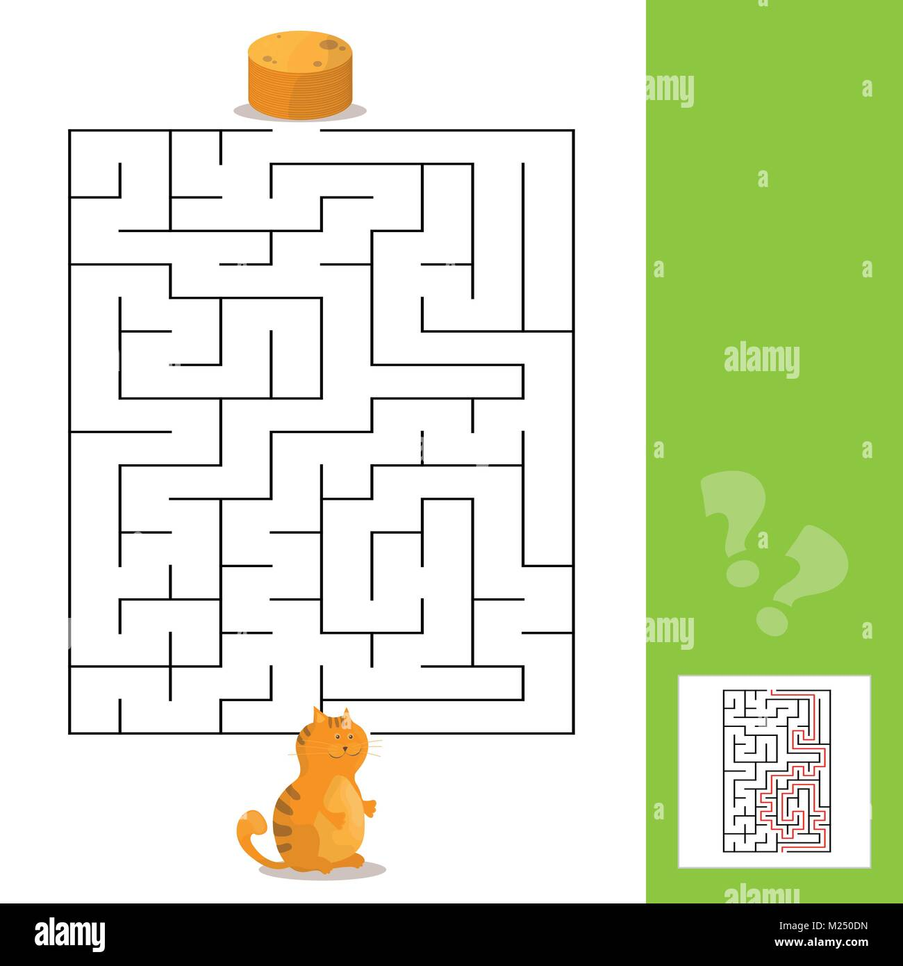 Cartoon Of Paths Or Maze Puzzle Activity Game With Kitten And Stock