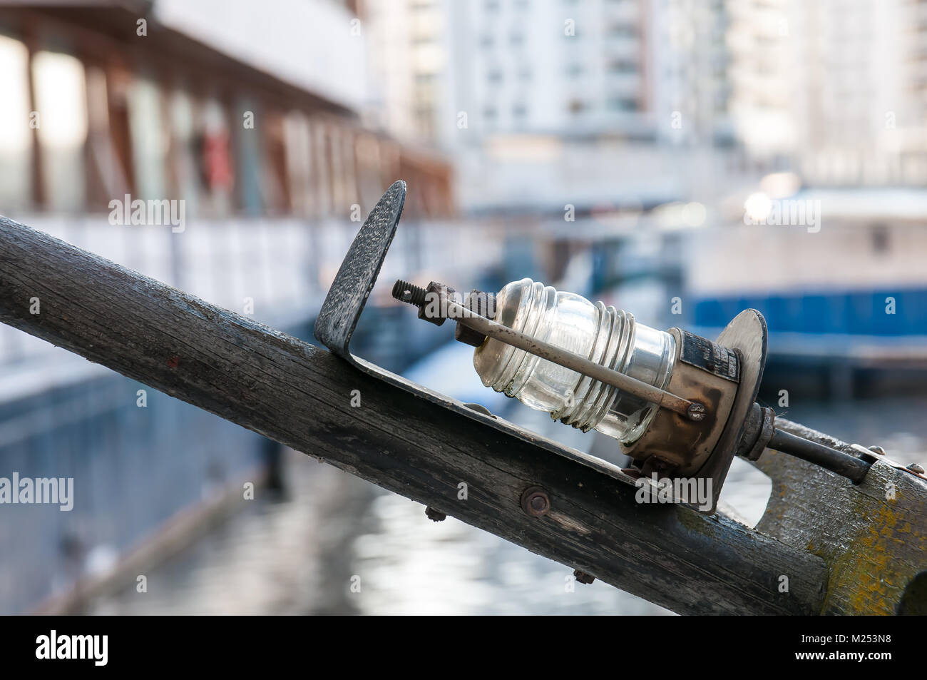 Old ship side and front retro lamp - Stock Image
