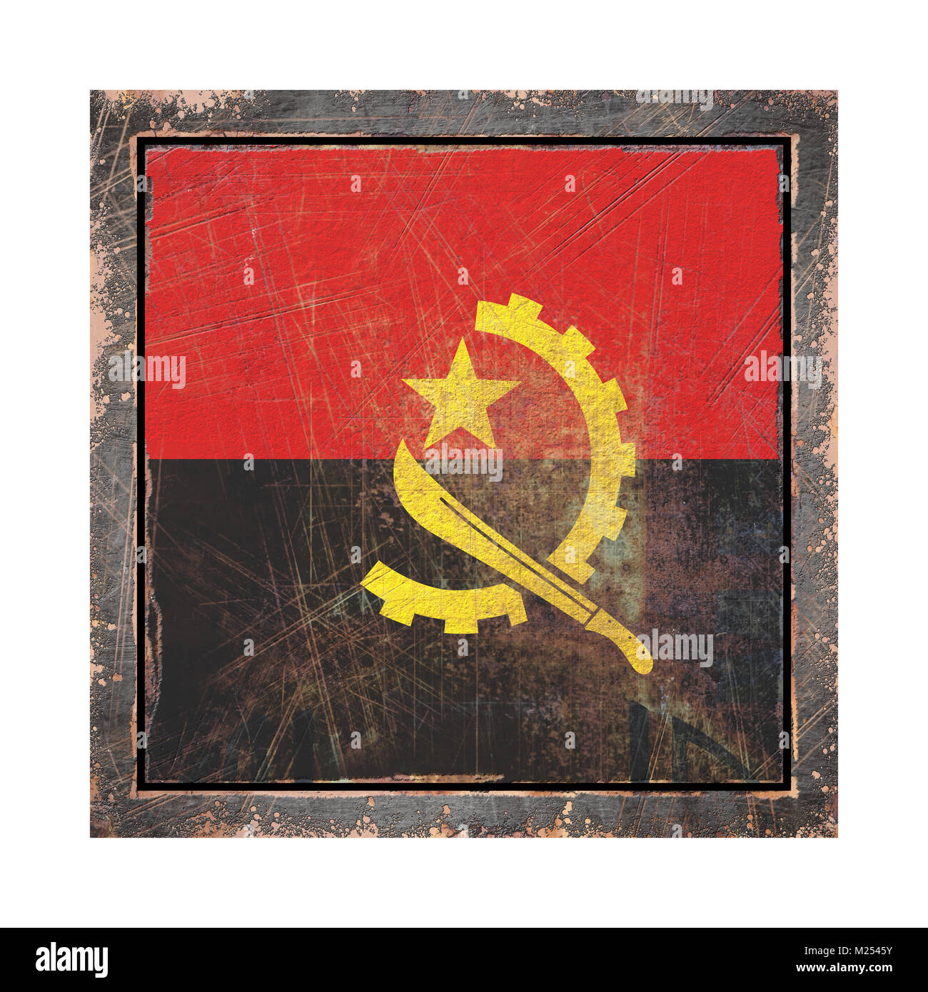 3d rendering of an Angola flag over a rusty metallic plate wit a rusty frame. Isolated on white background. - Stock Image