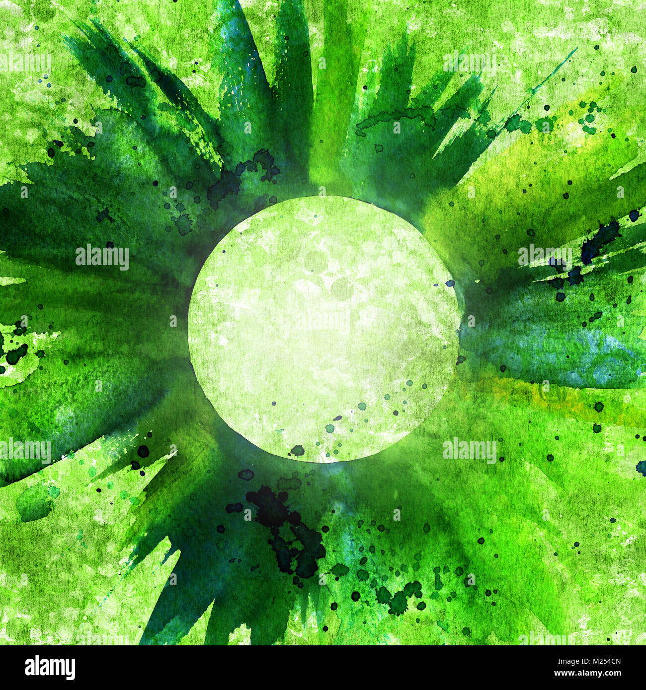 Abstract green background texture with brush strokes - Stock Image