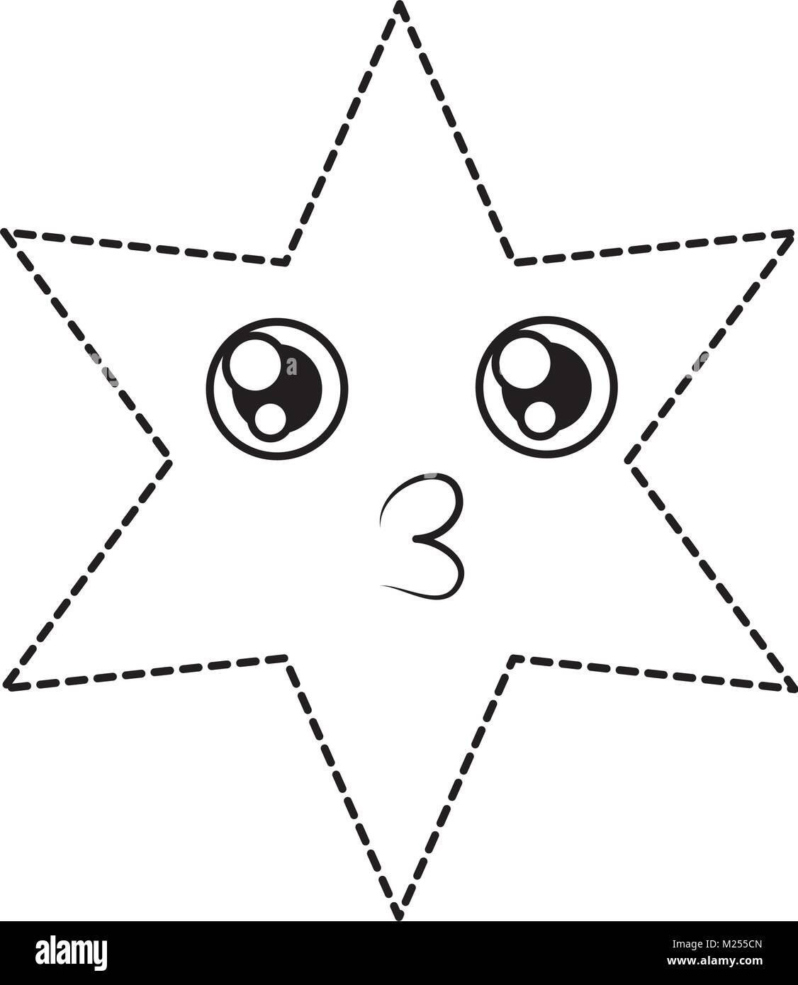 kawaii star icon - Stock Vector
