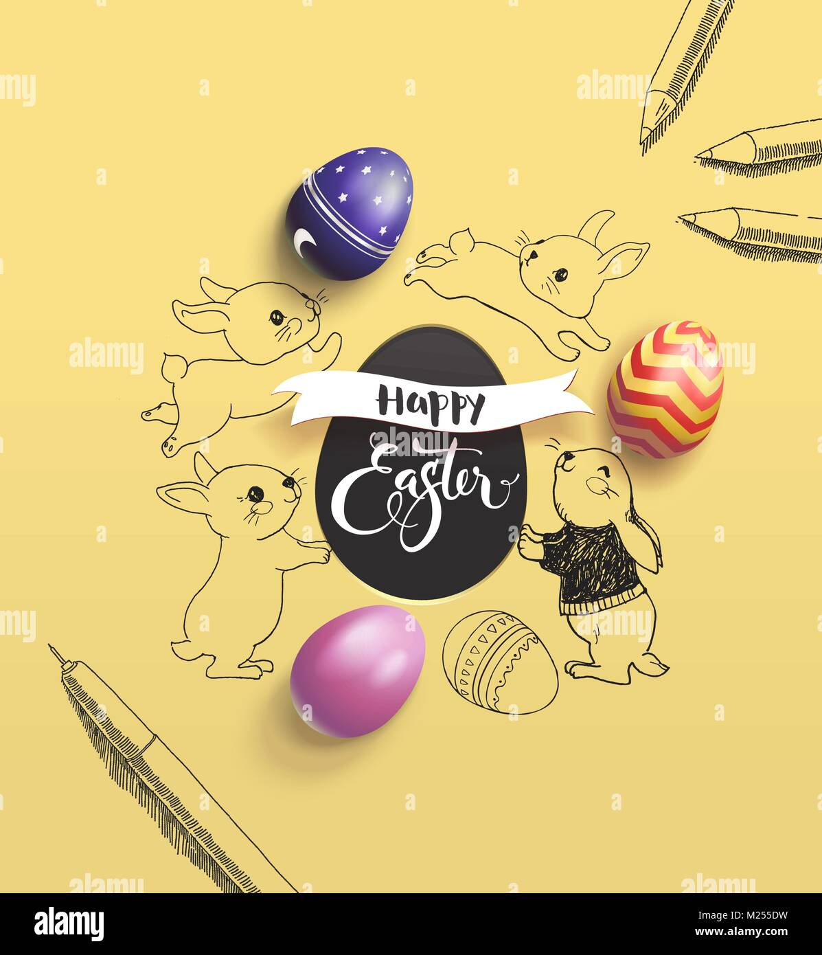 Happy Easter holiday wish surrounded by lovely baby bunnies, colorful decorative eggs, pen and pencil on yellow Stock Vector