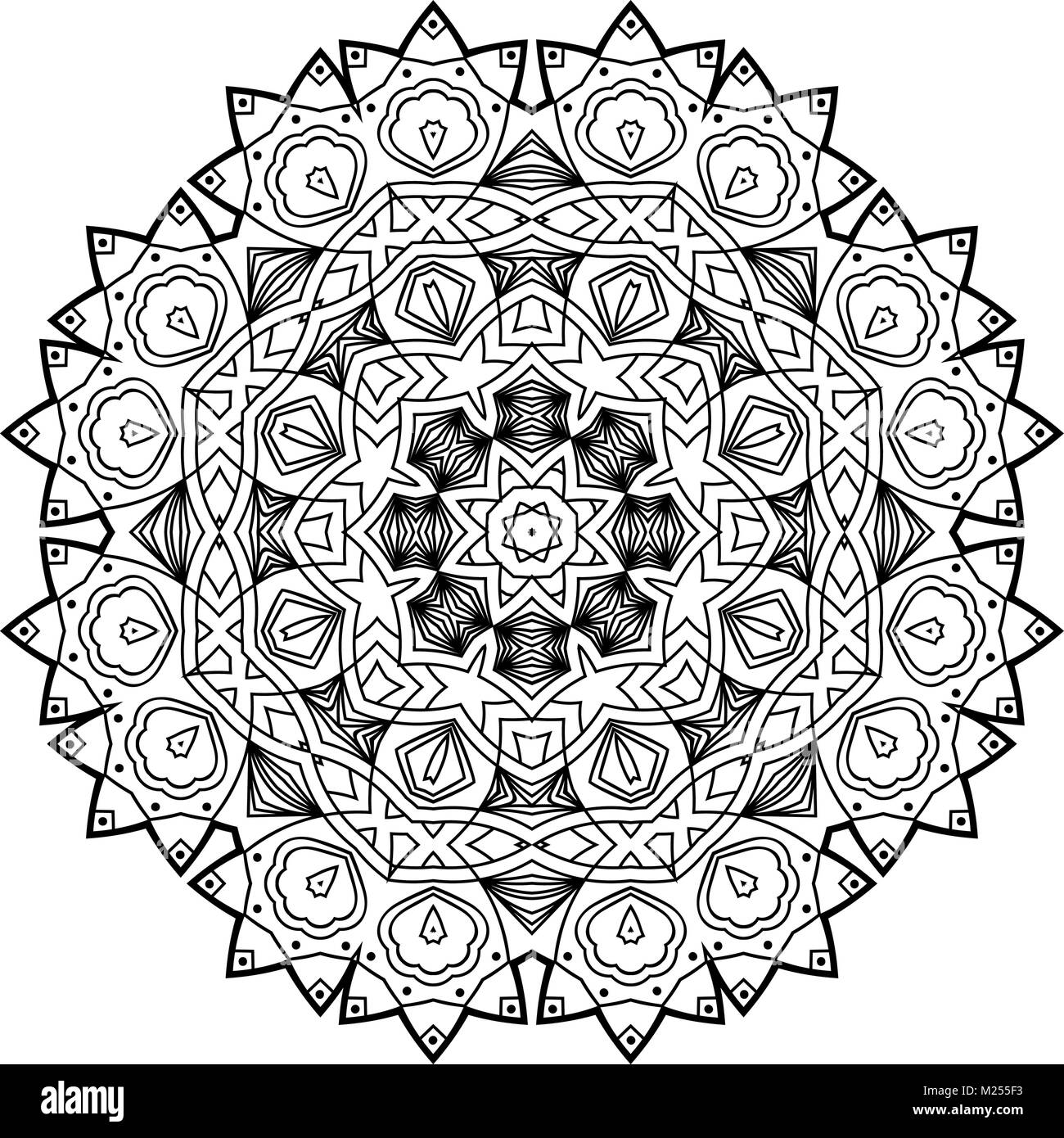 Flower Mandala Vintage Decorative Elements Oriental Pattern Vector Illustration Coloring Book Page Islam Arabic Indian Moroccan Spain Turkish