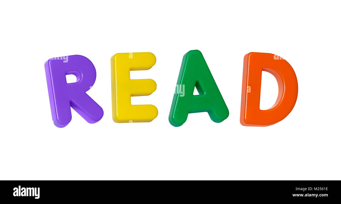 The word 'read' made up from coloured plastic letters - Stock Image