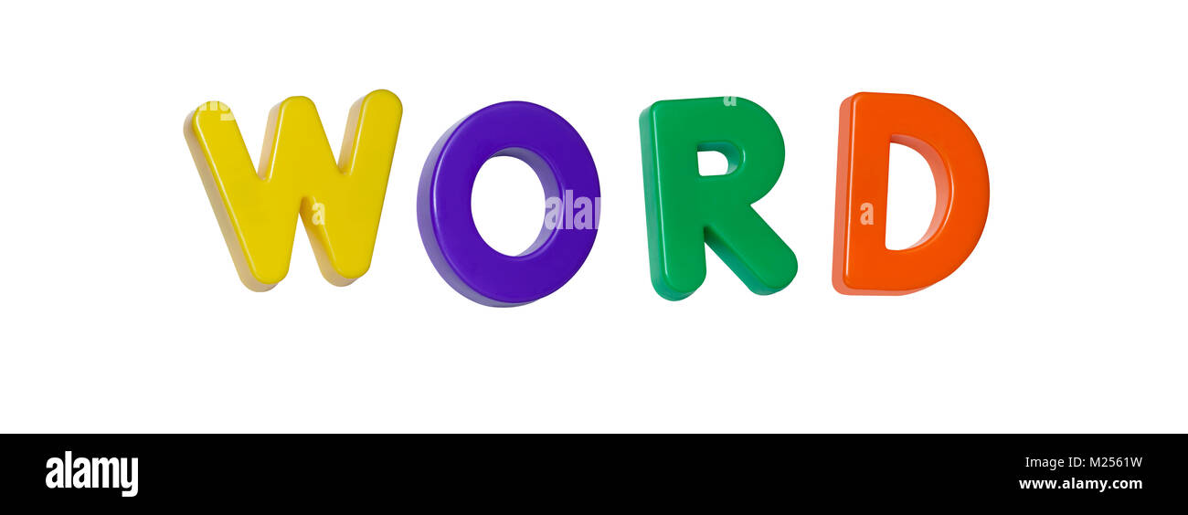 The word 'word' made up from coloured plastic letters - Stock Image