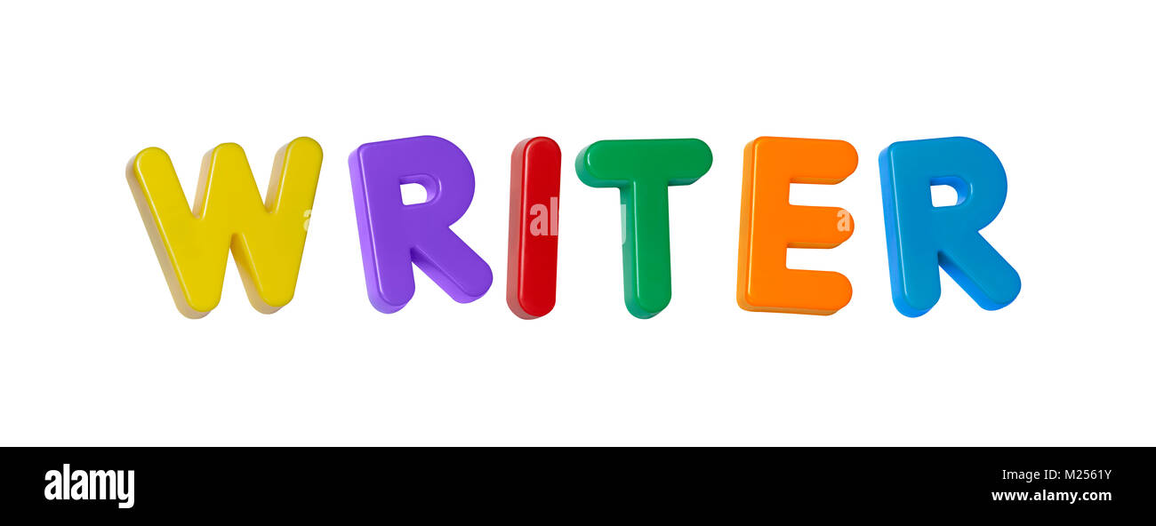 The word 'writer' made up from coloured plastic letters - Stock Image
