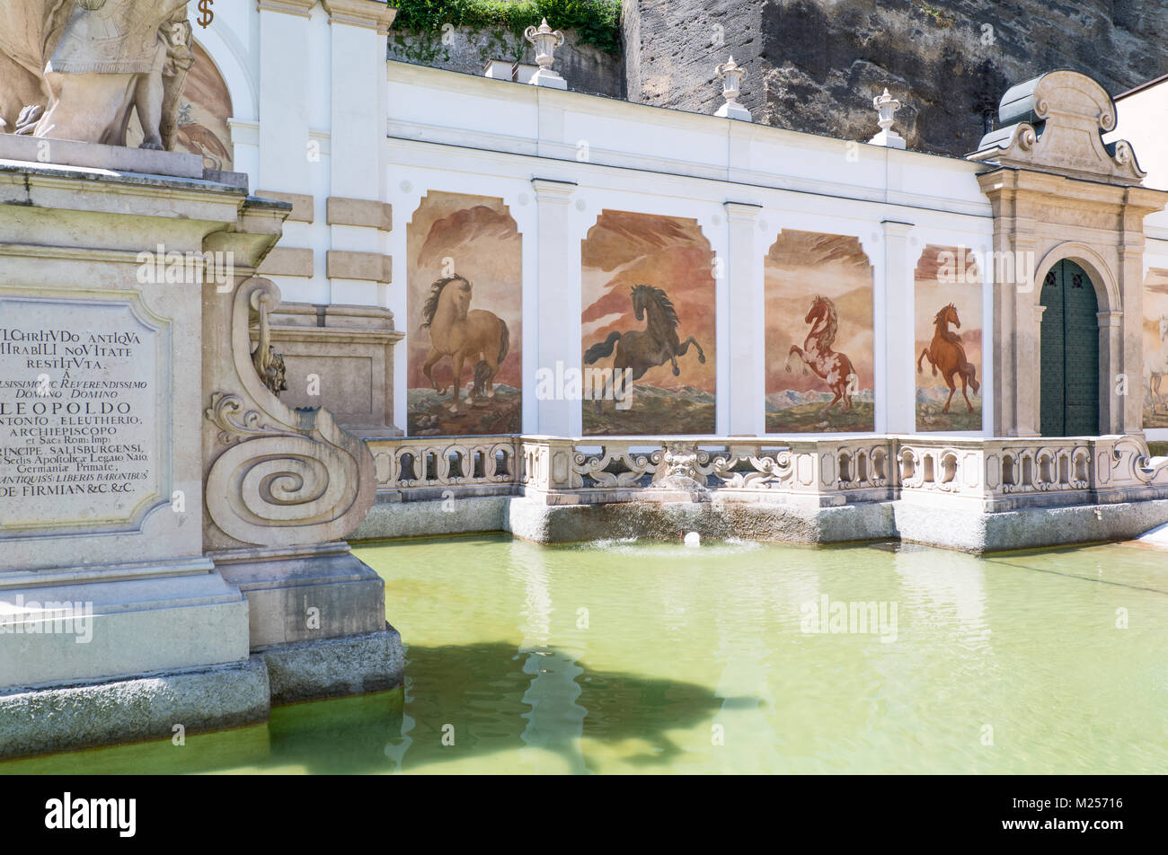 Austria, Salzburg, the Pferde Schwahme equestrian fountain in the old town - Stock Image