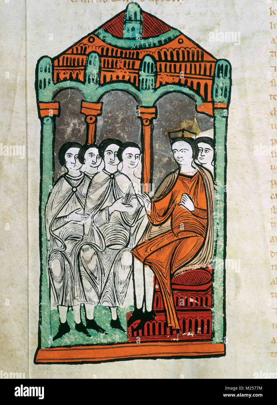 Alfonso II of Aragon (1154-1196) exchanges possessions with the Order of Hospitalers. Liber Feudorum Maior. 12th - Stock Image