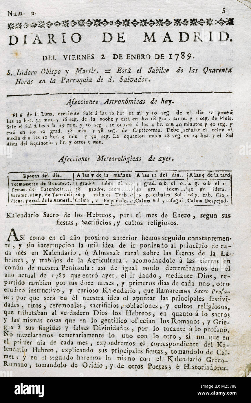 Spanish Press, 18th century. Journal of Madrid. Number 2, Friday, January 2, 1789. - Stock Image