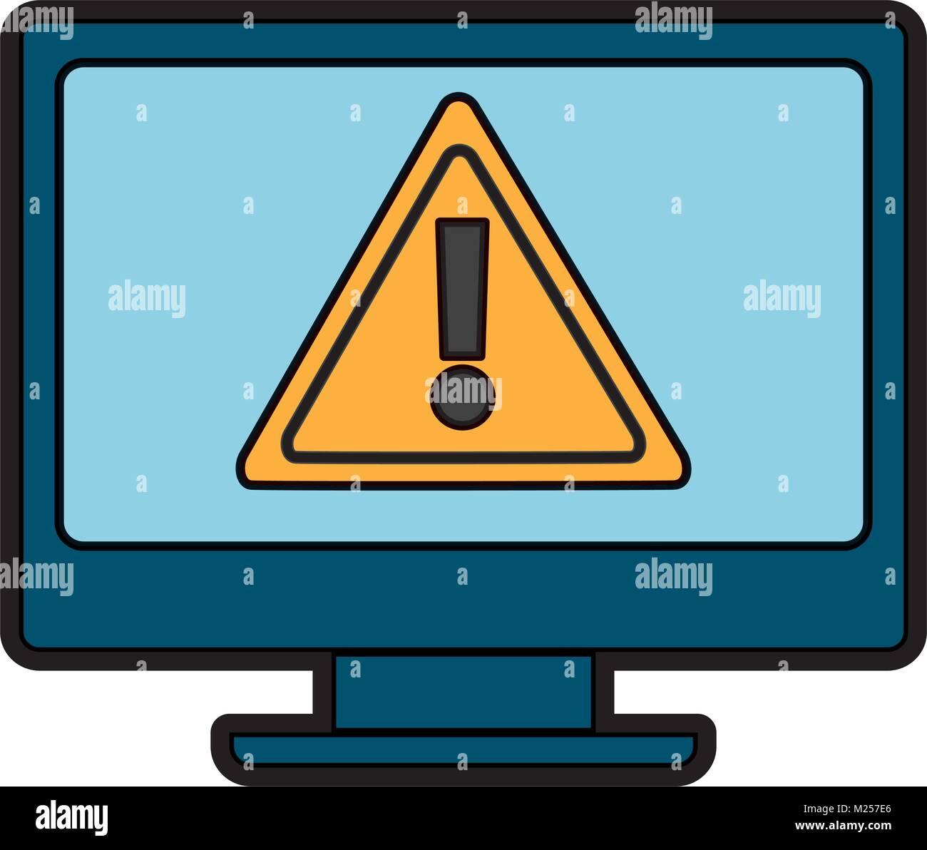 monitor computer warning error cyber vulnerability concept - Stock Vector