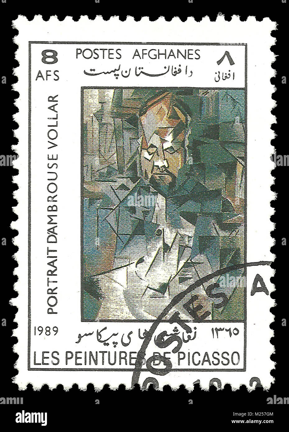 Afghanistan - stamp 1989: Color edition on Art, shows Painting Portrait Of Ambroise Vollard by Pablo Picasso - Stock Image