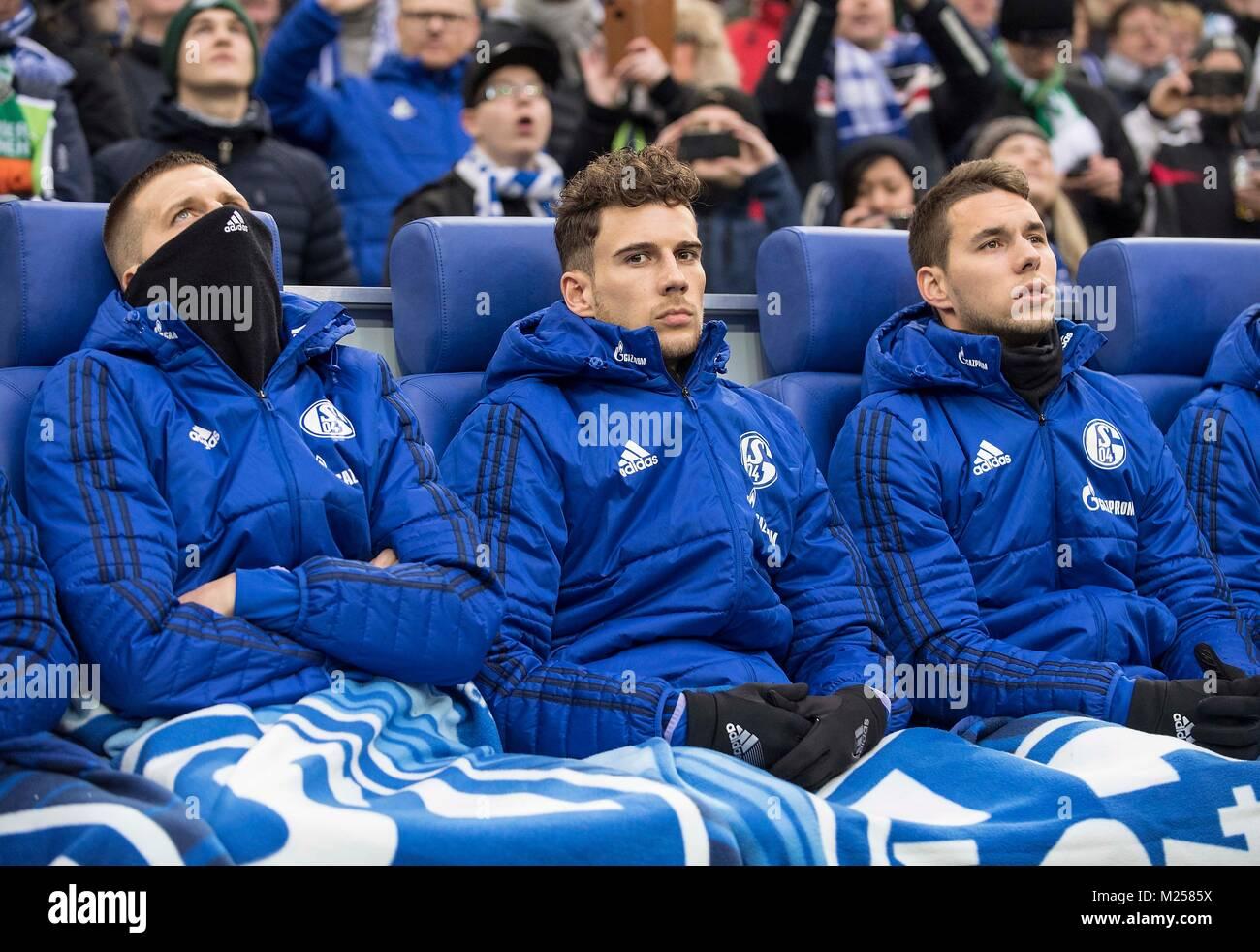 Ersatzbank GE left to right Guido BURGSTALLER (GE), Leon GORETZKA (GE), Marko PJACA (GE) Fussball 1. Bundesliga, - Stock Image