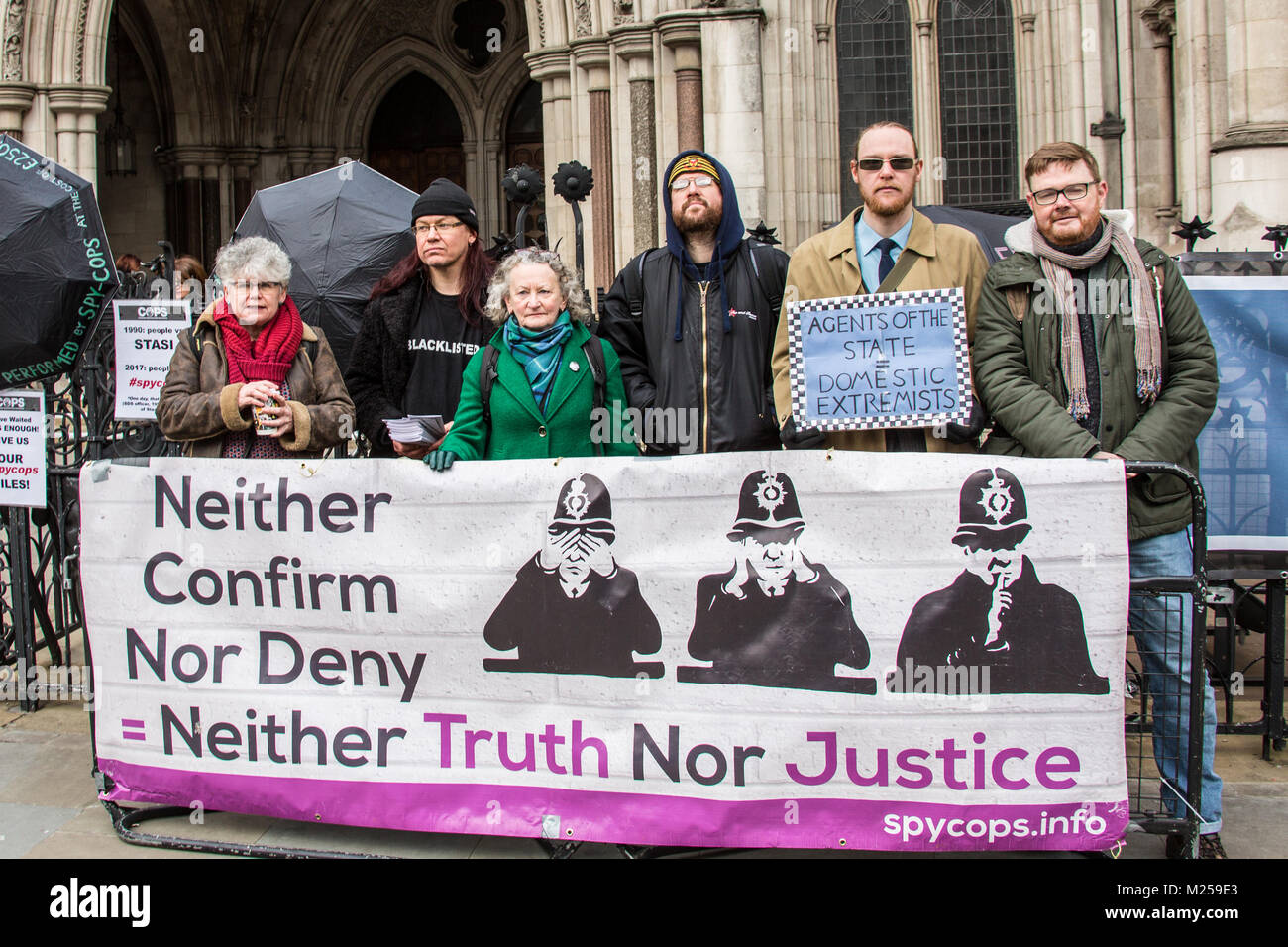 London, UK. 5 February 2018. Jenny Jones joins protesters demonstrated outside the Royal Courts of Justice at the - Stock Image