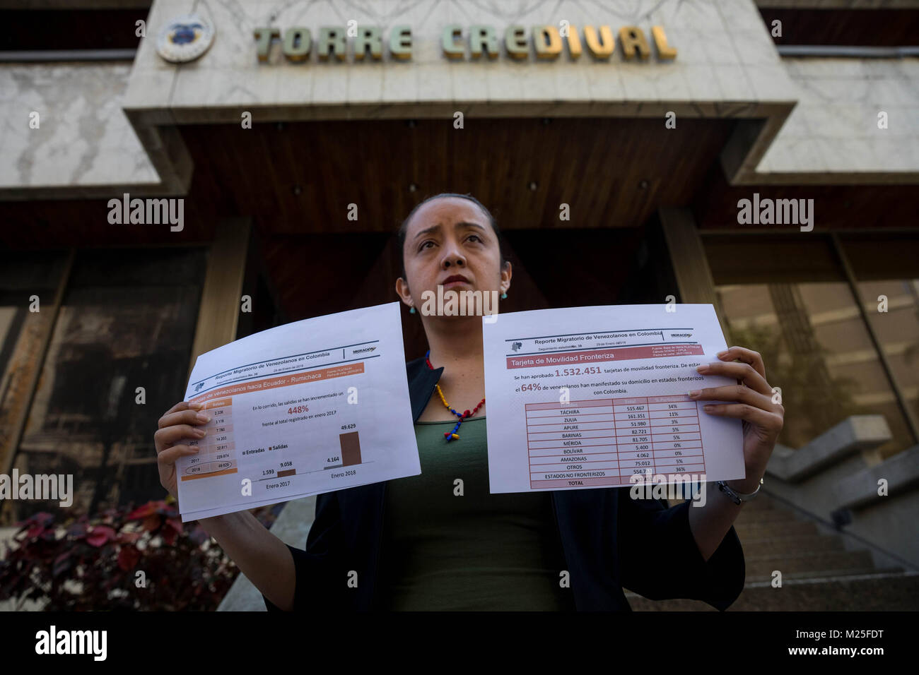 Caracas, Venezuela. 05th Feb, 2018. Opposition deputy Gaby Arellano shows immigration reports at the Colombian Embassy - Stock Image
