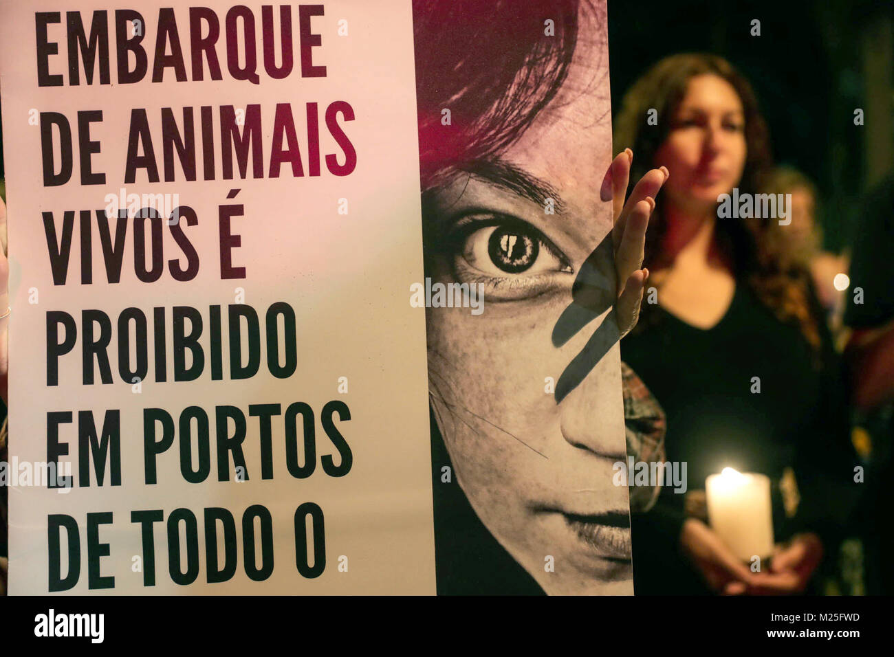Sao Paulo, Brazil. 05th Feb, 2018. Activists against animal explotation protest in front of the Turkish Embassy - Stock Image