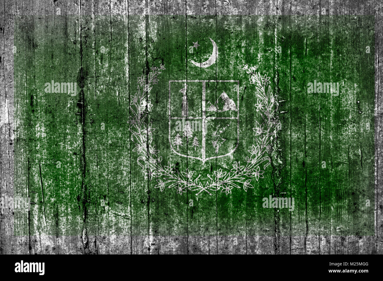 Gilgit Baltistan flag painted on background texture gray concrete - Stock Image