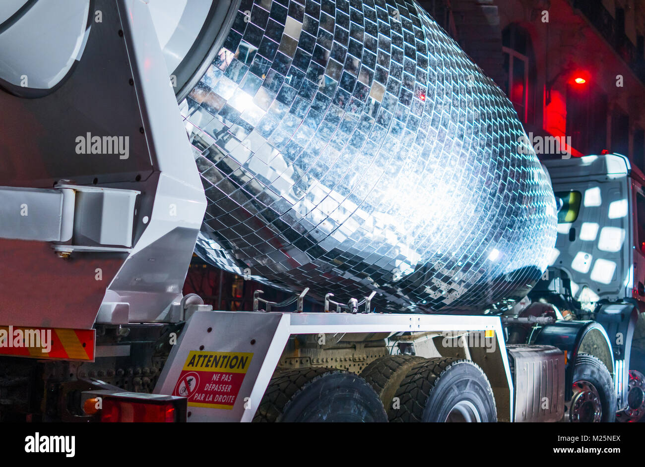 Lyon,  France, Festival of Lights, art works called Disco Ball Cement Mixer in President Carnot street - Stock Image