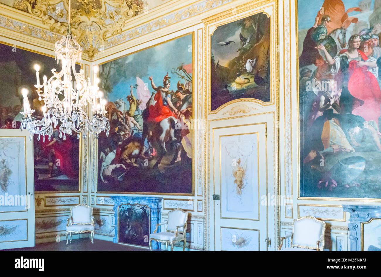 Italy, Piedmont, Nichelino, The Chiablese Dukes apartments of Palazzina di caccia di Stupinigi - Stock Image