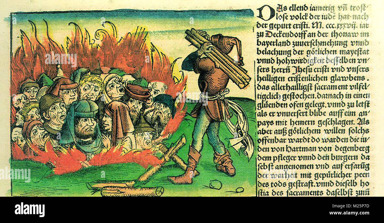 Burning of the Jews, by Hartmann Schedel, NUREMBERG CHRONICLE 1493 - Stock Image