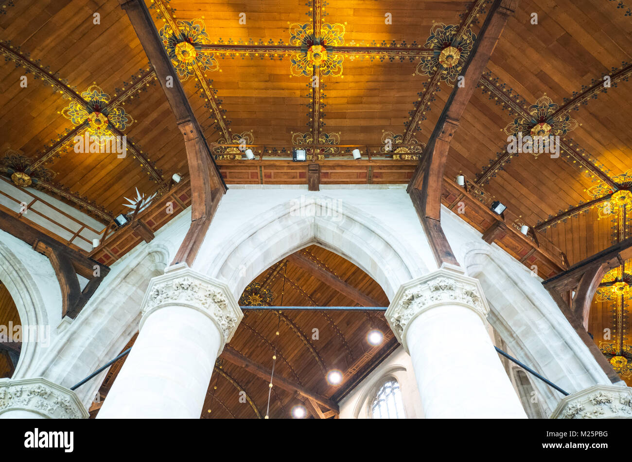 Netherlands, Rotterdam, architectural detail of the choir area of the San Lorenzo church - Stock Image