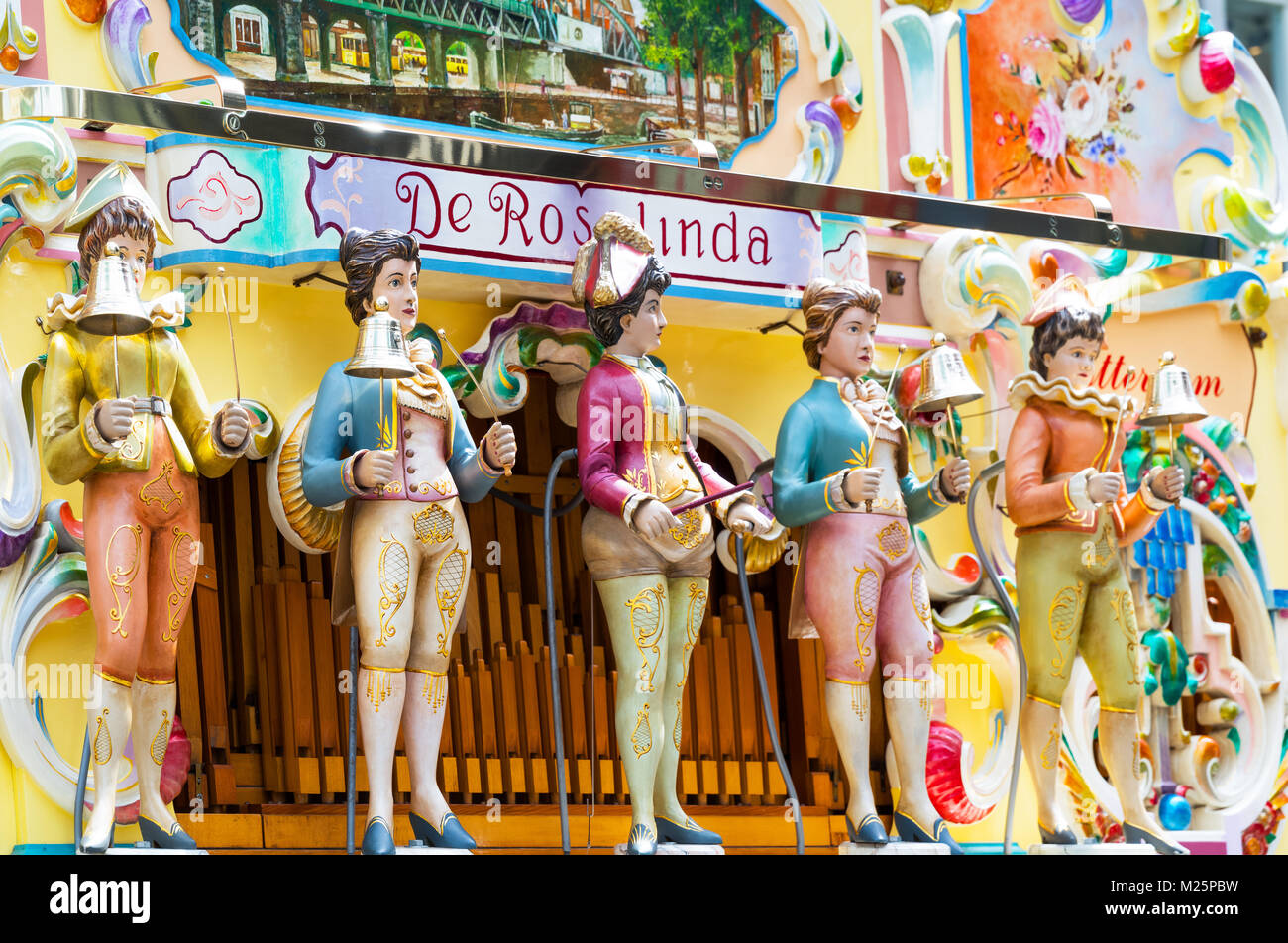 Netherlands, Rotterdam, The colorful puppets of an ancient organ in the Beves Plein shopping area Stock Photo