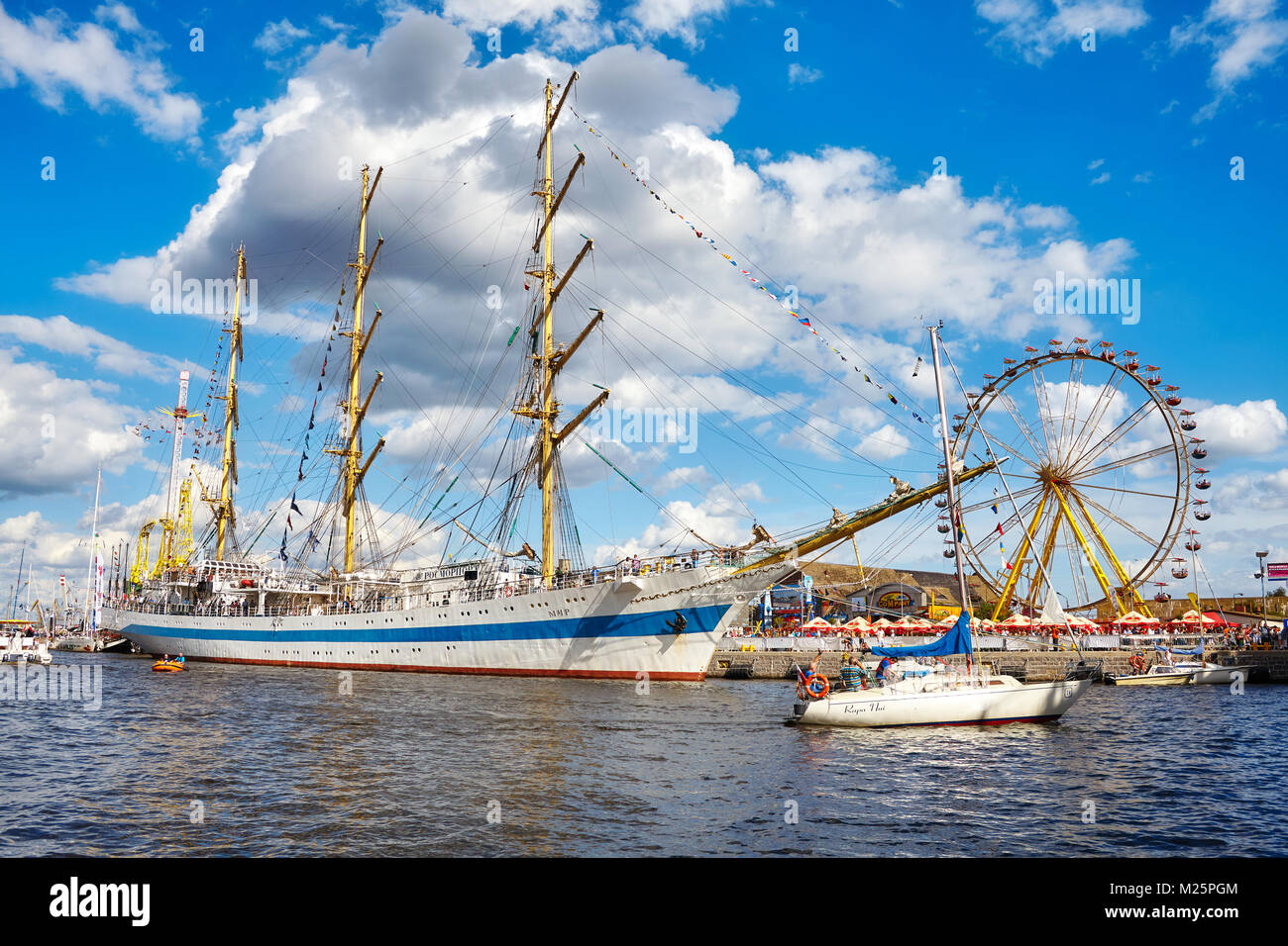 Szczecin, Poland - August 06, 2017: STS Mir, three-masted full rigged training ship at the final of The Tall Ships - Stock Image