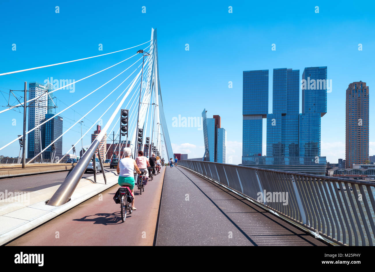 Netherlands, Rotterdam,  Cyclists crossing the Erasmus bridge on the Maas river with the De Rotterdam towers in Stock Photo