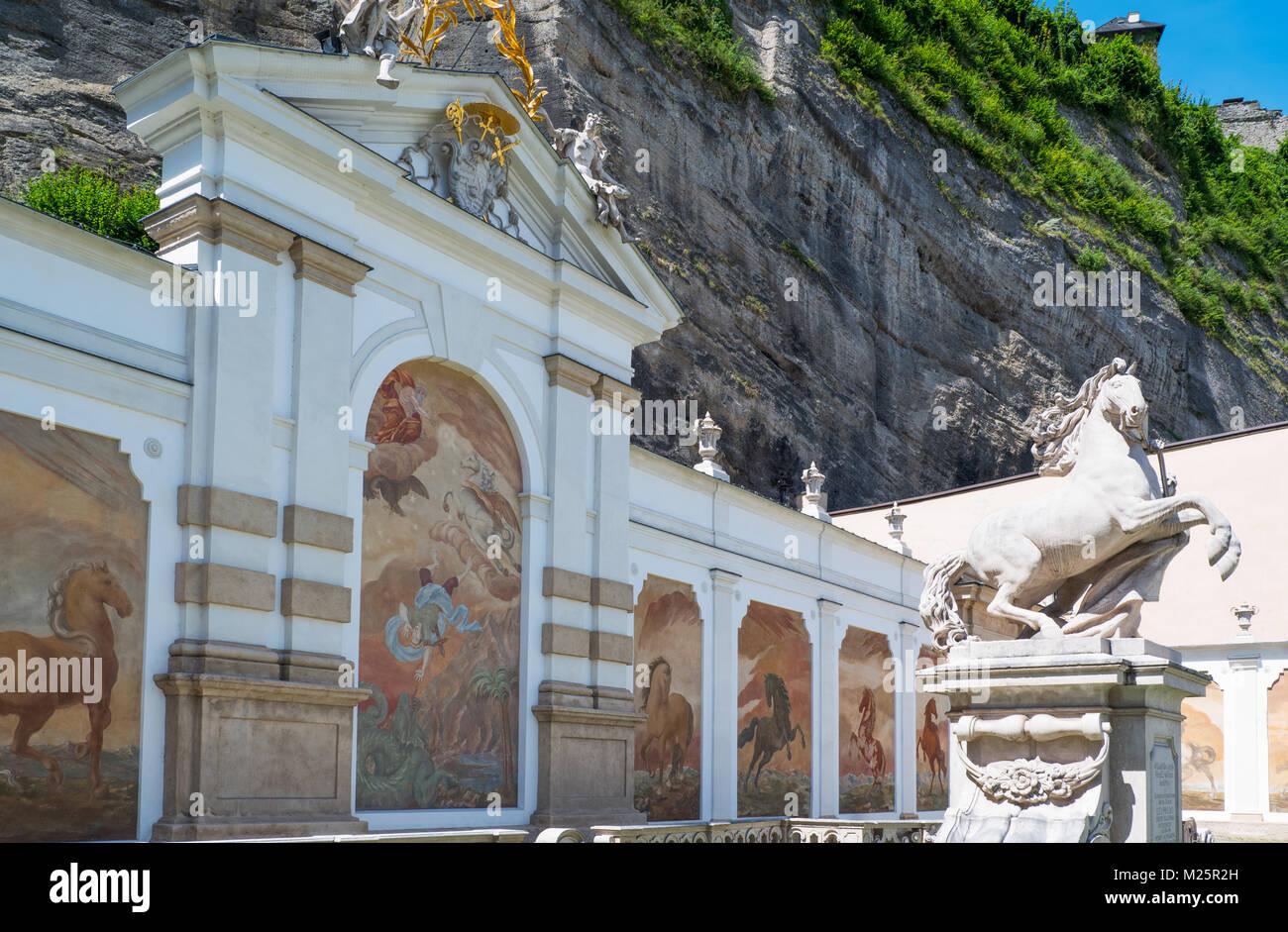 Austria, Salzburg, the Pferde Schwahme equestrian fountain with - Stock Image