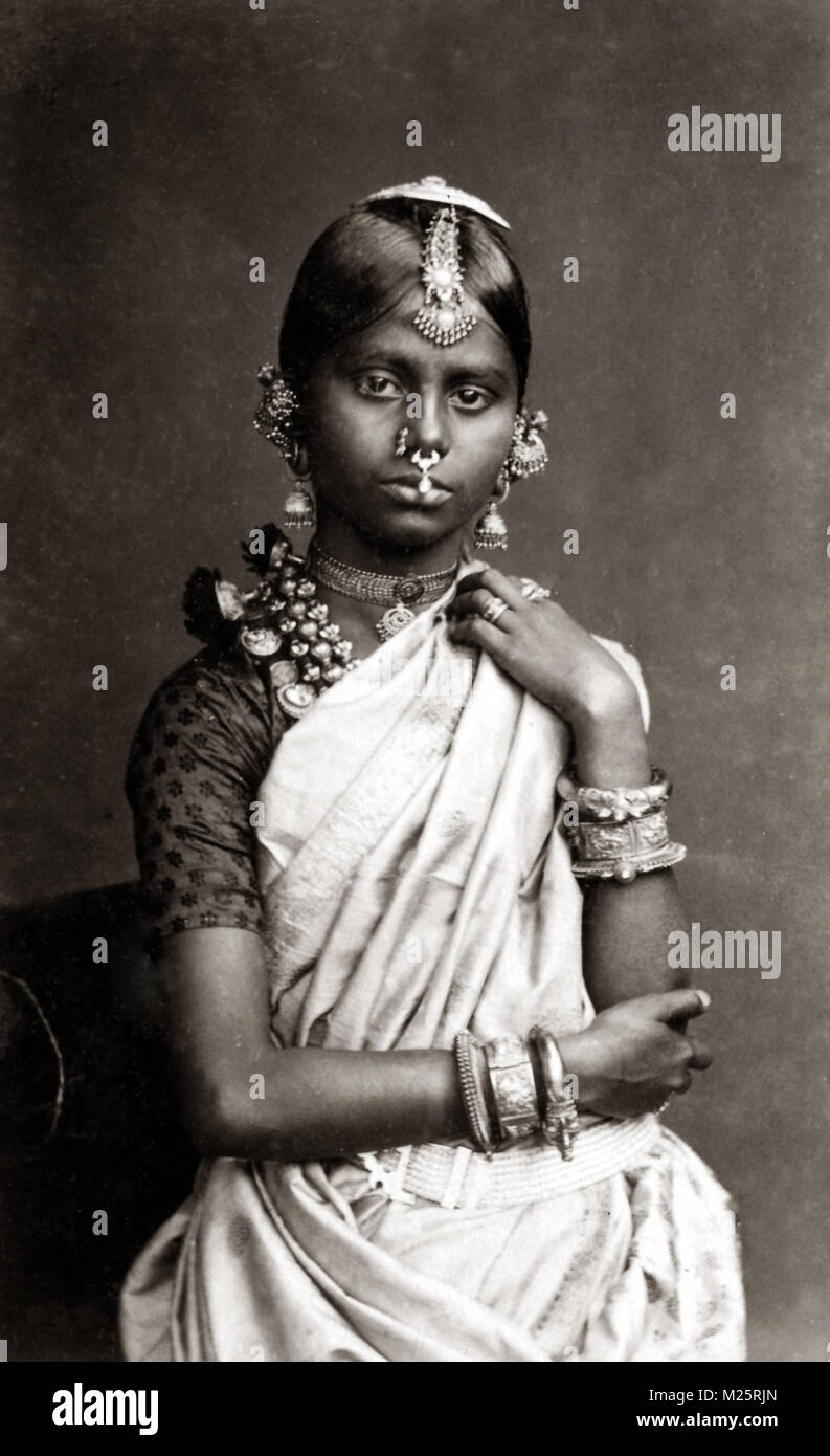 C 1880s Ceylon Sri Lanka Tamil Girl With Nose Rings And Ornate