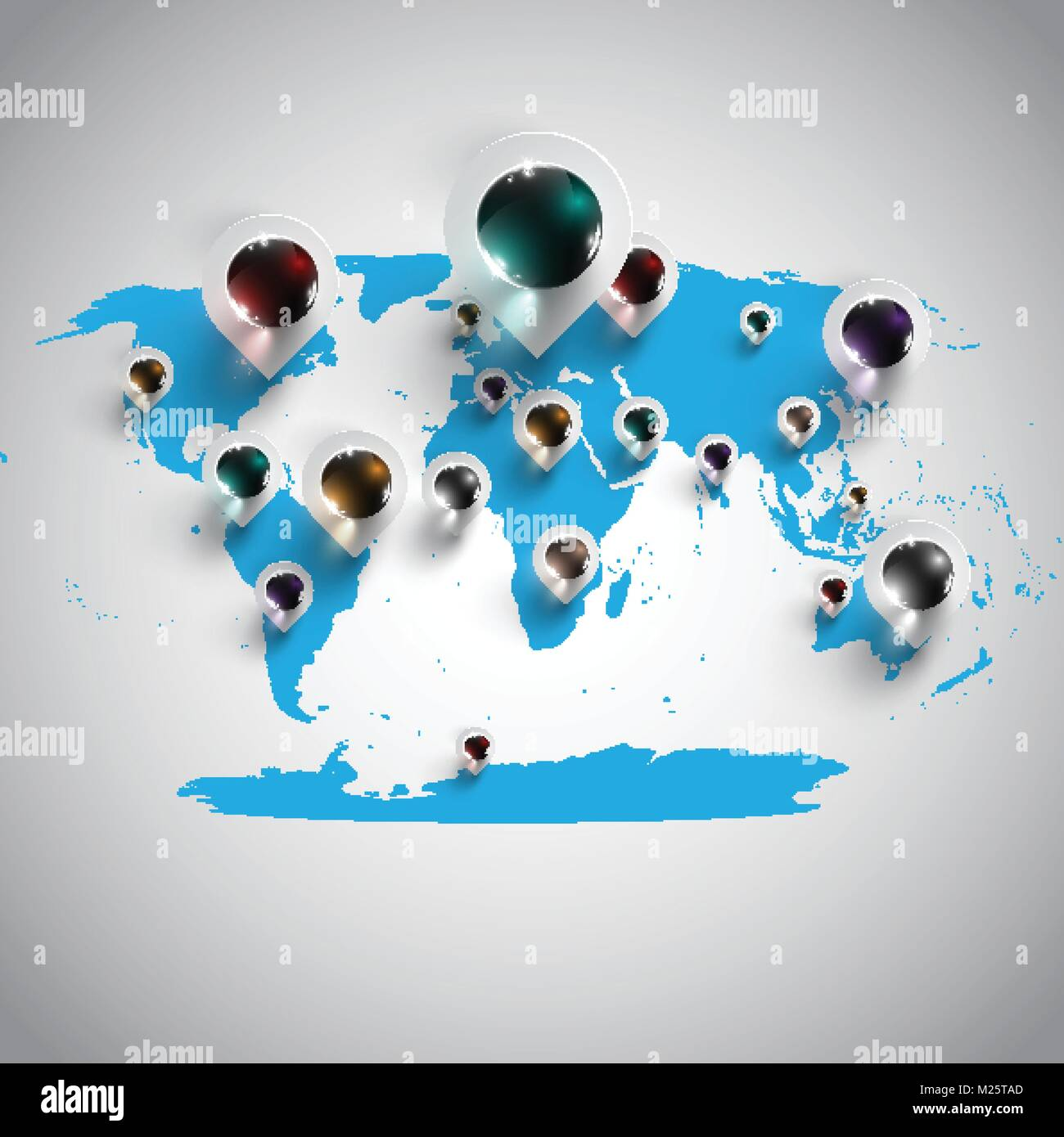 World map with pins vector Stock Vector