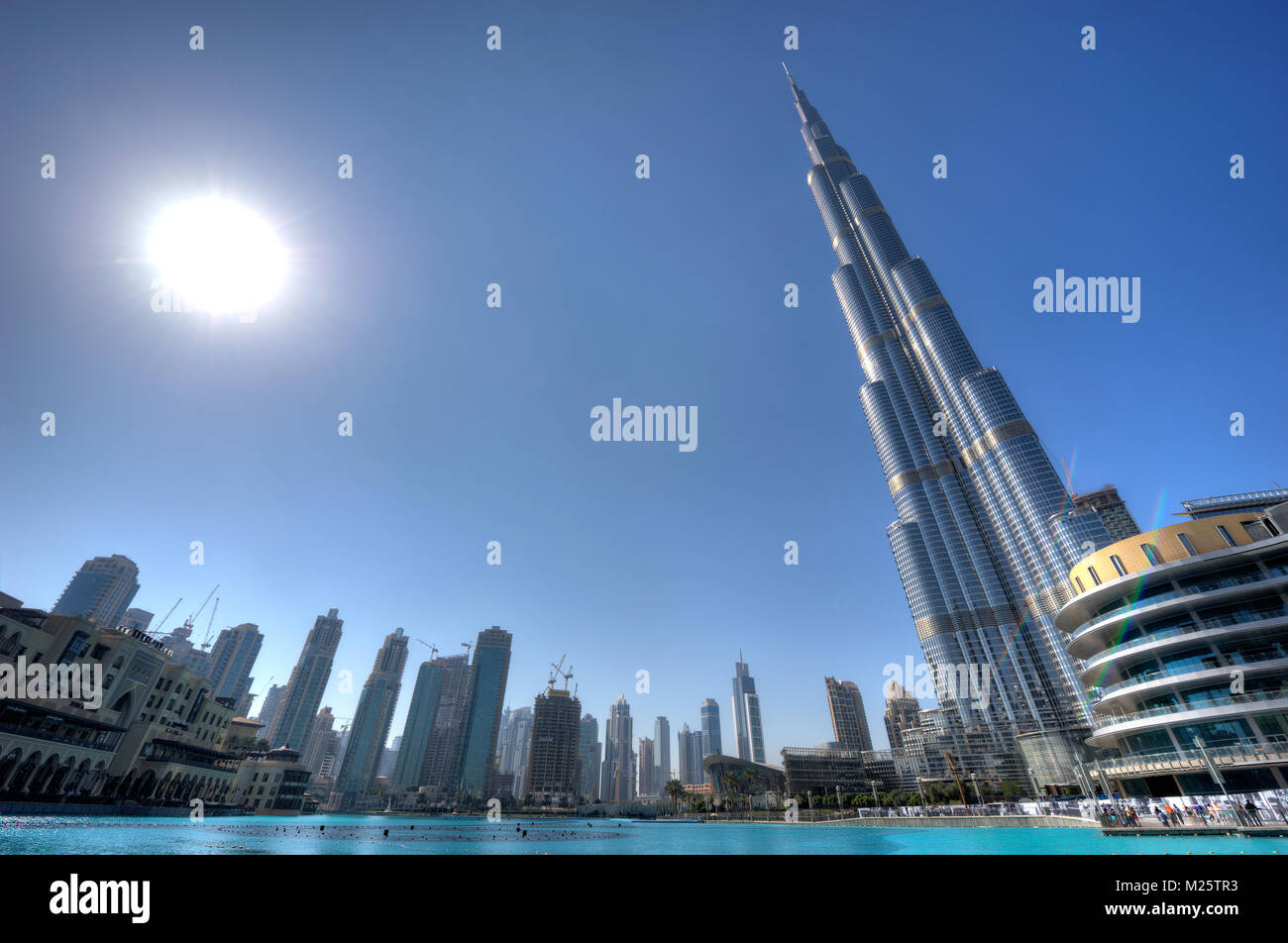 DUBAI, UNITED ARAB EMIRATES - JAN 02, 2018: The Burj Khalifa in the center of Dubai is the tallest building in the - Stock Image