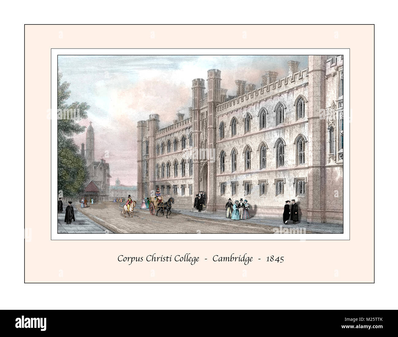 Corpus Christi College Cambridge Original Design based on a 19th century Engraving - Stock Image