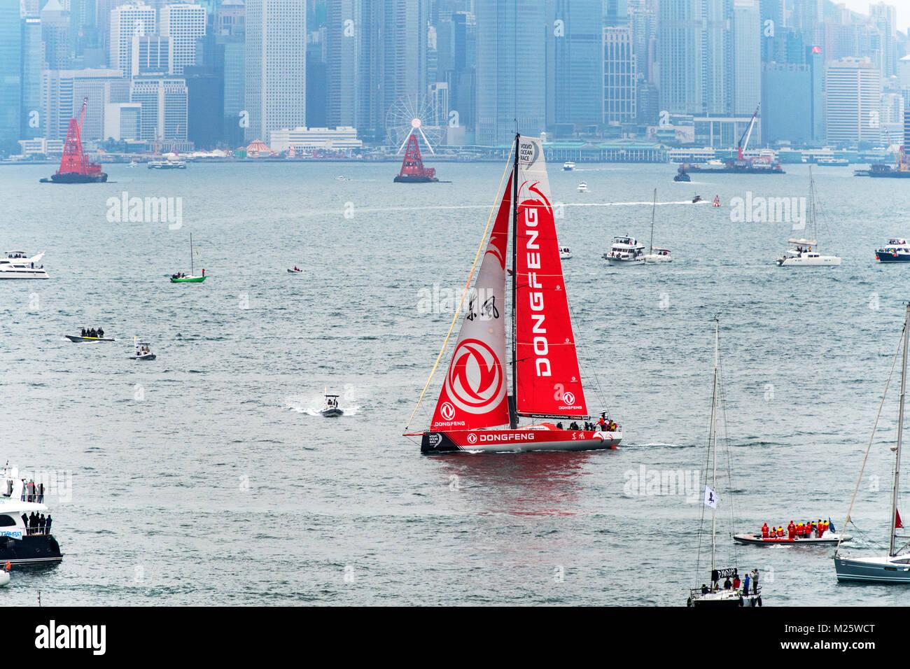 Dongfeng Volvo ocean race Hongkong - Stock Image