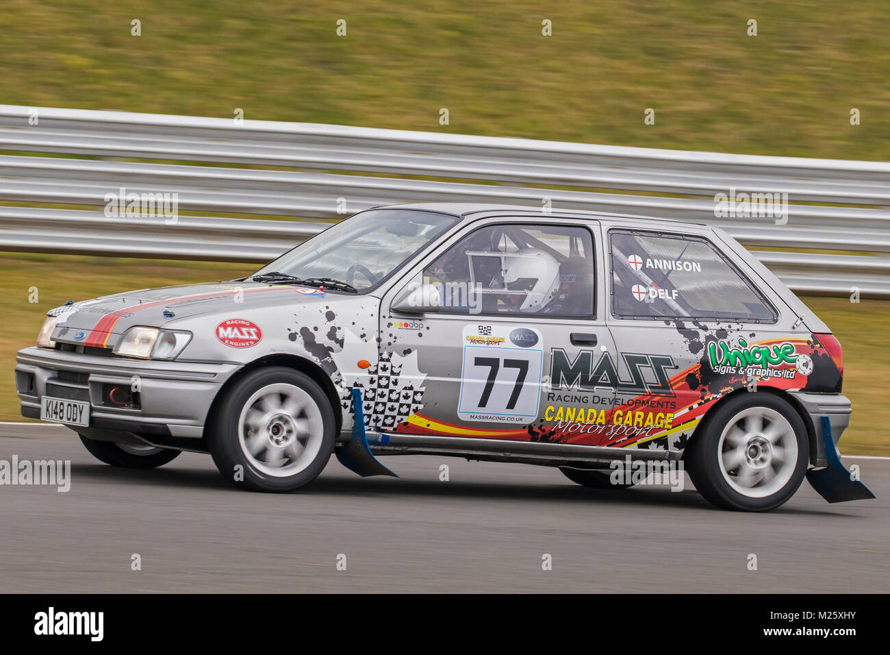 Ford Fiesta with driver Stuart Delf and co-driver Brian Marquis at the Motorsport News Circuit Rally Championship, - Stock Image